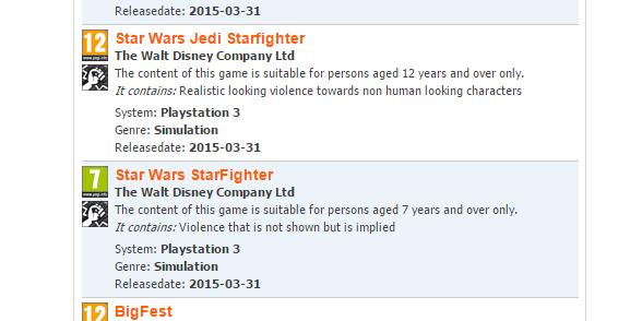 Star Wars: Jedi Starfighter & Star Wars: Starfighter Rated By Pegi
