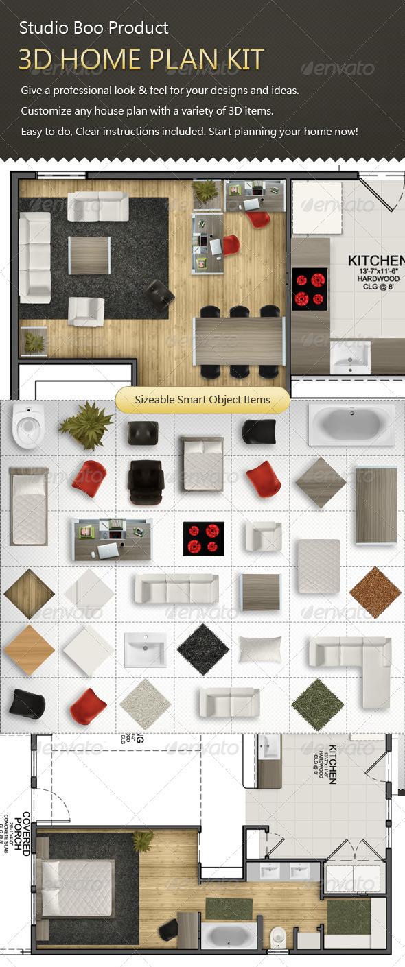 GraphicRiver - 3D Home Plan Kit 1299158