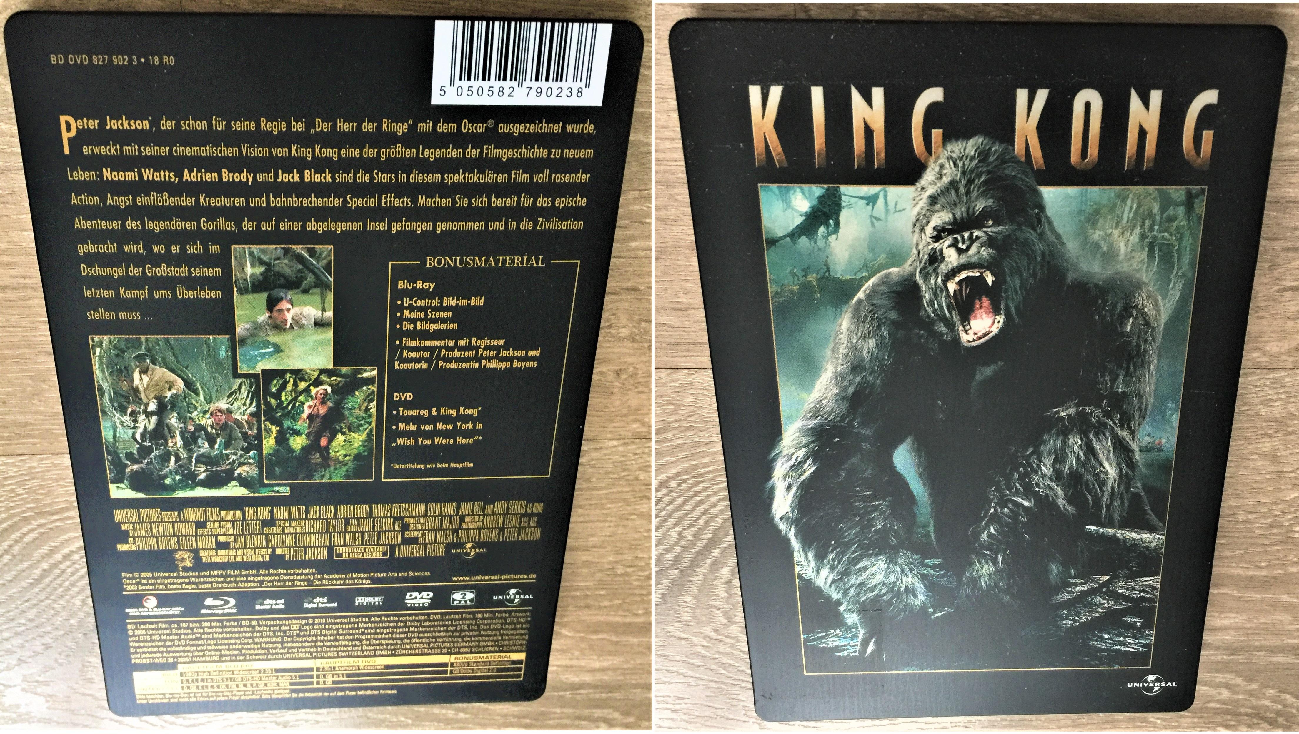 King Kong 200 Min. großes EXTENDED STEELBOOK Blu Ray und DVD wie NEU !!!