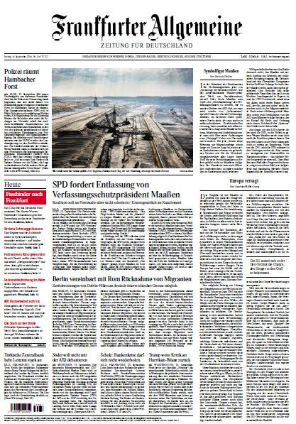 :  Frankfurter Allgemeine 14 September 2018
