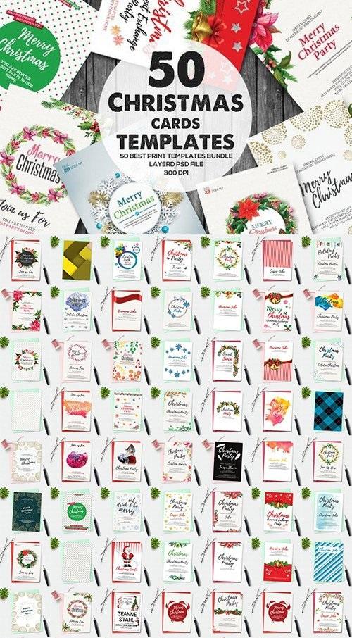 50 Christmas Invitation Cards Bundle-PSD