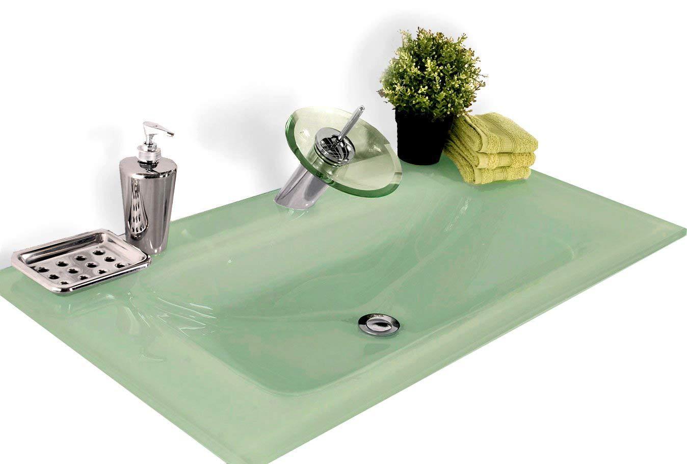 Details zu Waschbecken Milchglas Badezimmer Waschplatz Tisch Mintgrün  rechteckig 16cm