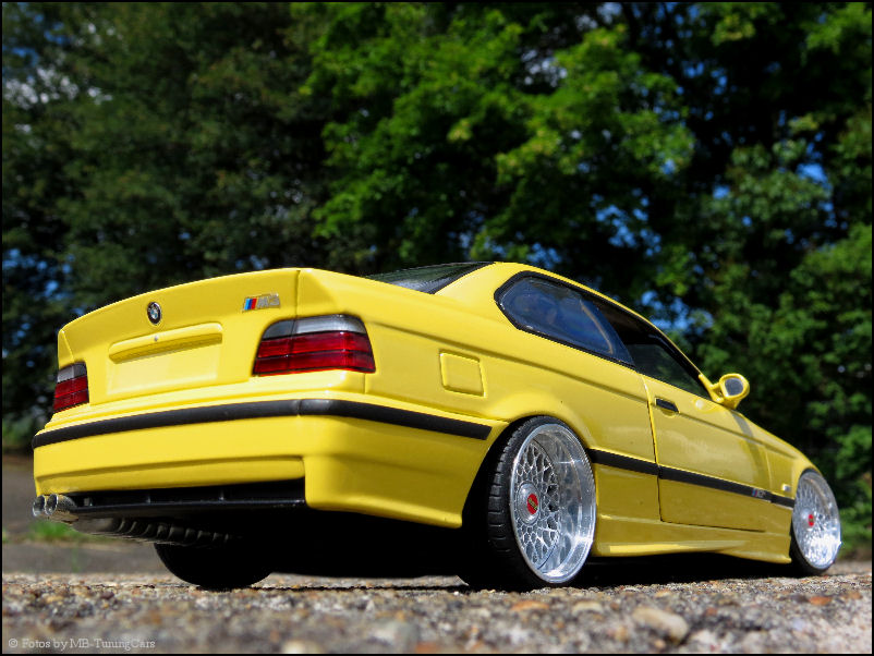 1 18 tuning bmw e36 m3 coupe gelb yellow mit bbs rs felgen inkl ut ovp rar ebay. Black Bedroom Furniture Sets. Home Design Ideas