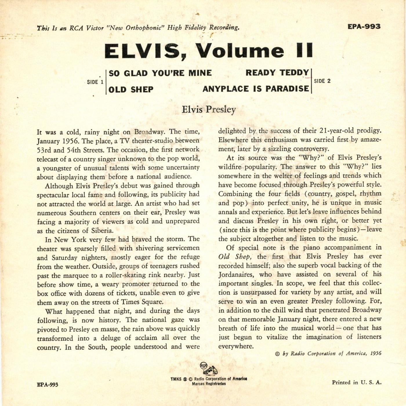 ELVIS VOL. 2 993be5lz2