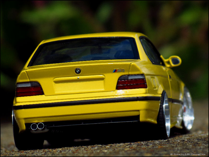 1 18 tuning bmw e36 m3 coupe gelb yellow mit bbs rs. Black Bedroom Furniture Sets. Home Design Ideas