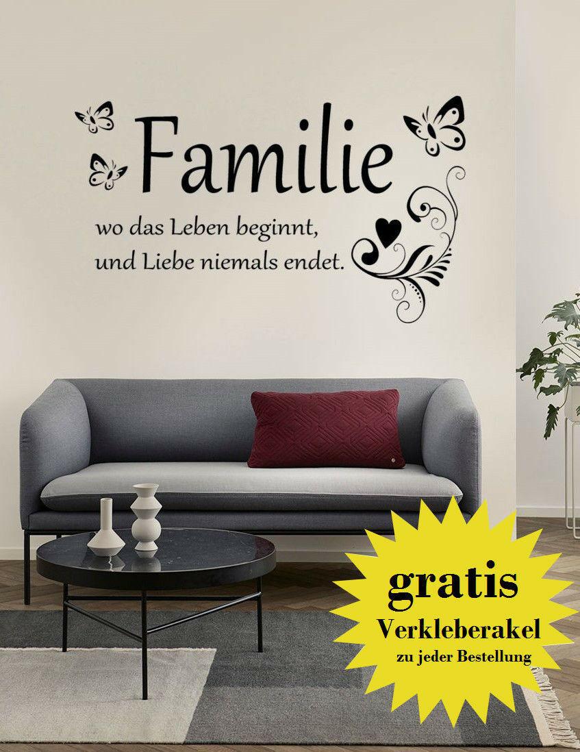 Wandtattoo 60cm Wandsticker Familie Flur Wohnzimmer Zitat Wandaufkleber Spruch