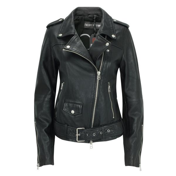 Details zu Freaky Nation Damen Lederjacke Bikerjacke CAT Noir mit Gürtel schwarz Gr. 34 44