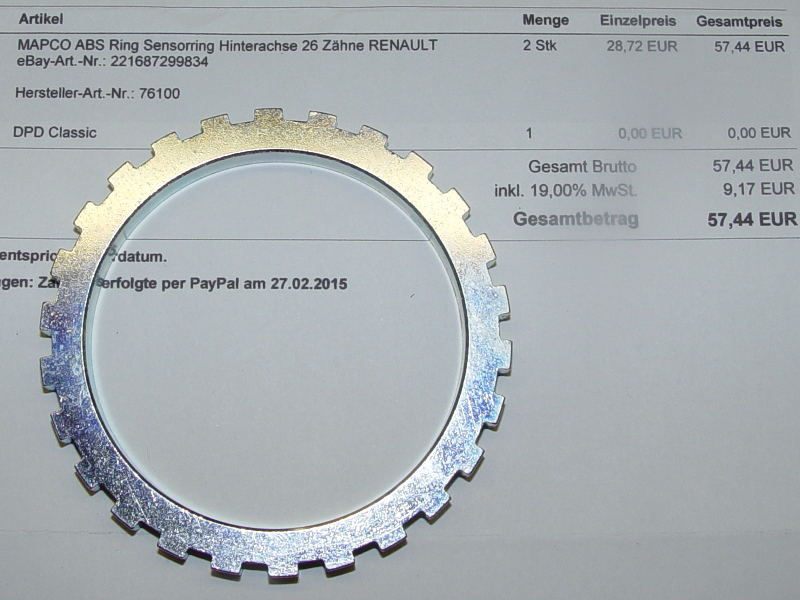 Links Antriebswelle Renault 2x ABS-Ring Sensorring 38 Zähne Rechts o