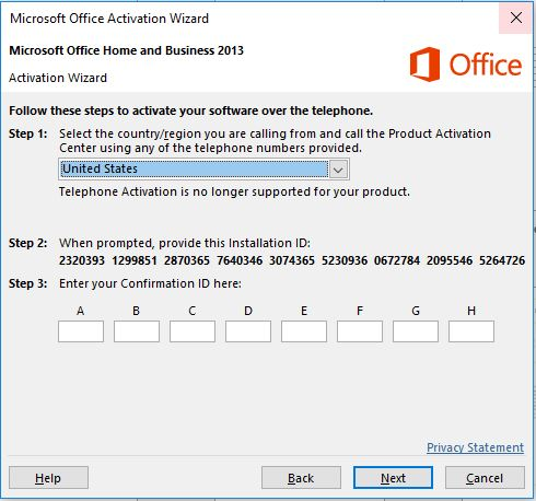 ms office 2013 activation problems