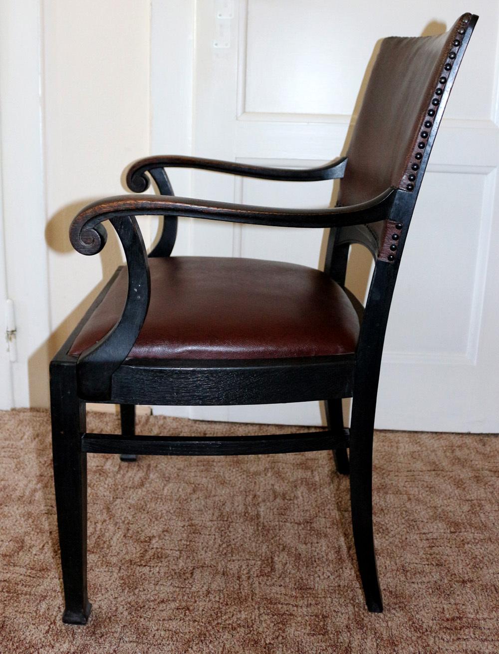 alte antike esszimmerst hle st hle armlehnstuhl jugendstil schwarz braun leder. Black Bedroom Furniture Sets. Home Design Ideas