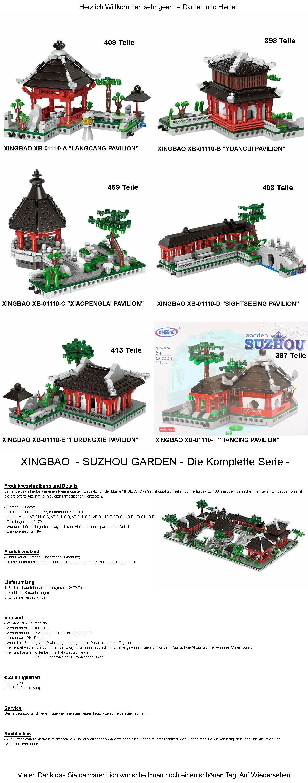 China Town Garten Sozhou 6 Gebäude Klemmbausteine Spielzeug Xingbao XB-01110 OVP