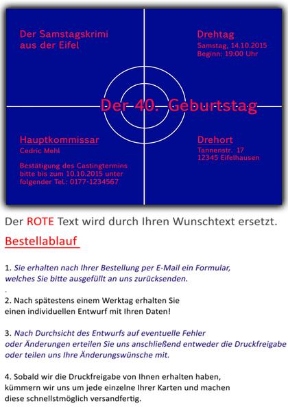 Einladungskarten Tatort Geburtstag Einladung Geburtstagseinladung, Einladung