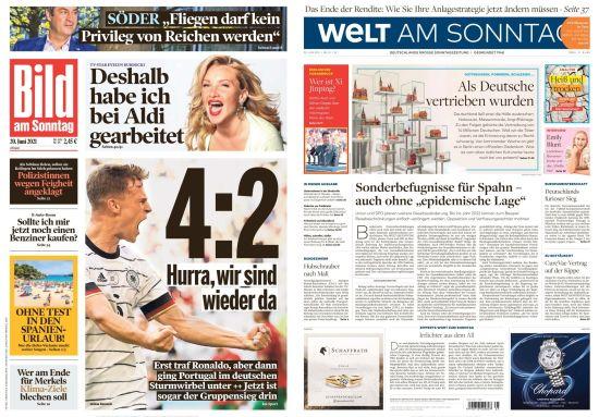 Cover: Bild und Welt am Sonntag No 25 vom 20  Juni 2021