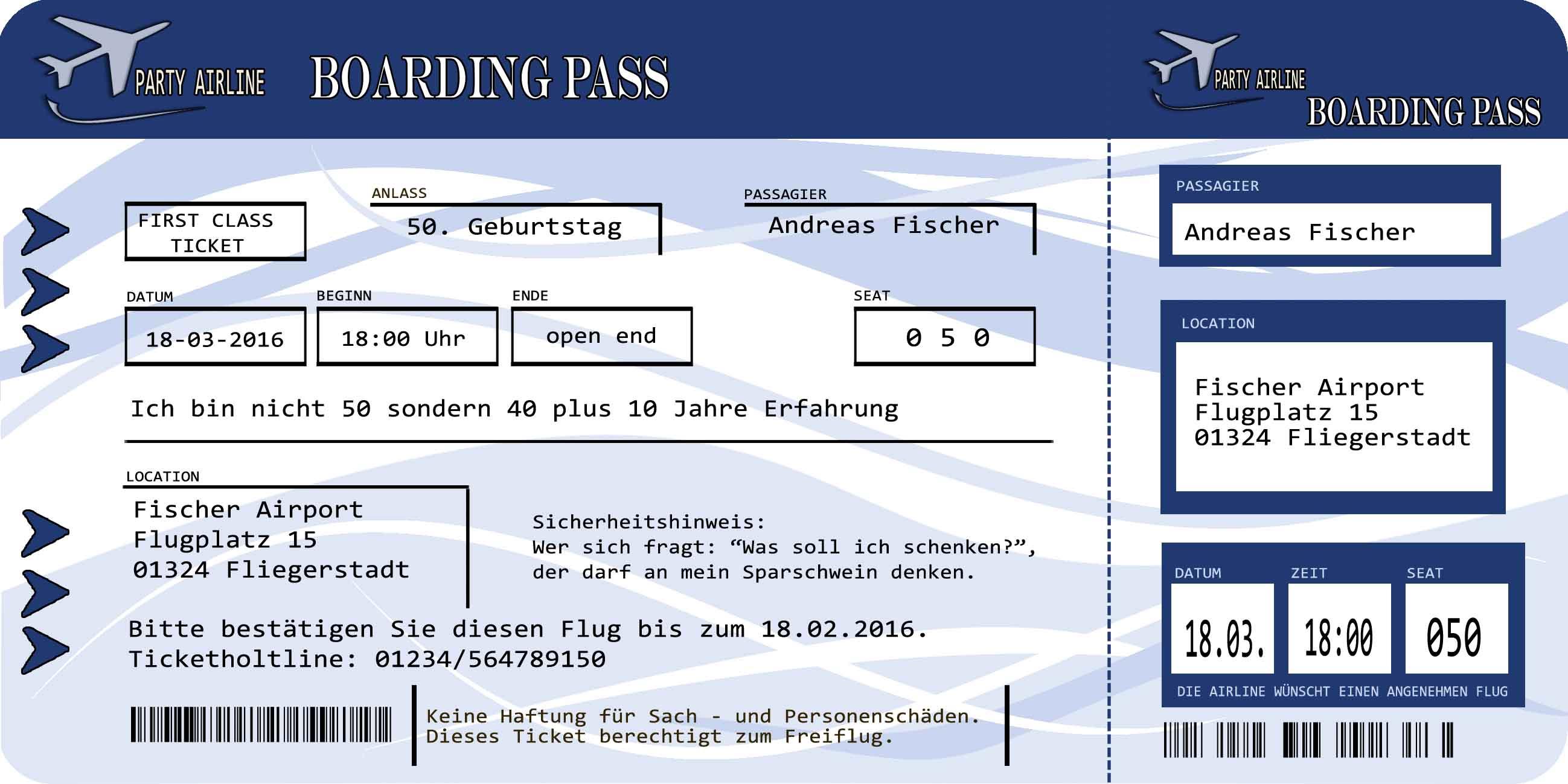 Einladungskarten Flugticket Blau Geburtstag 18. 20. 30. 40. feiern Party Fest | eBay