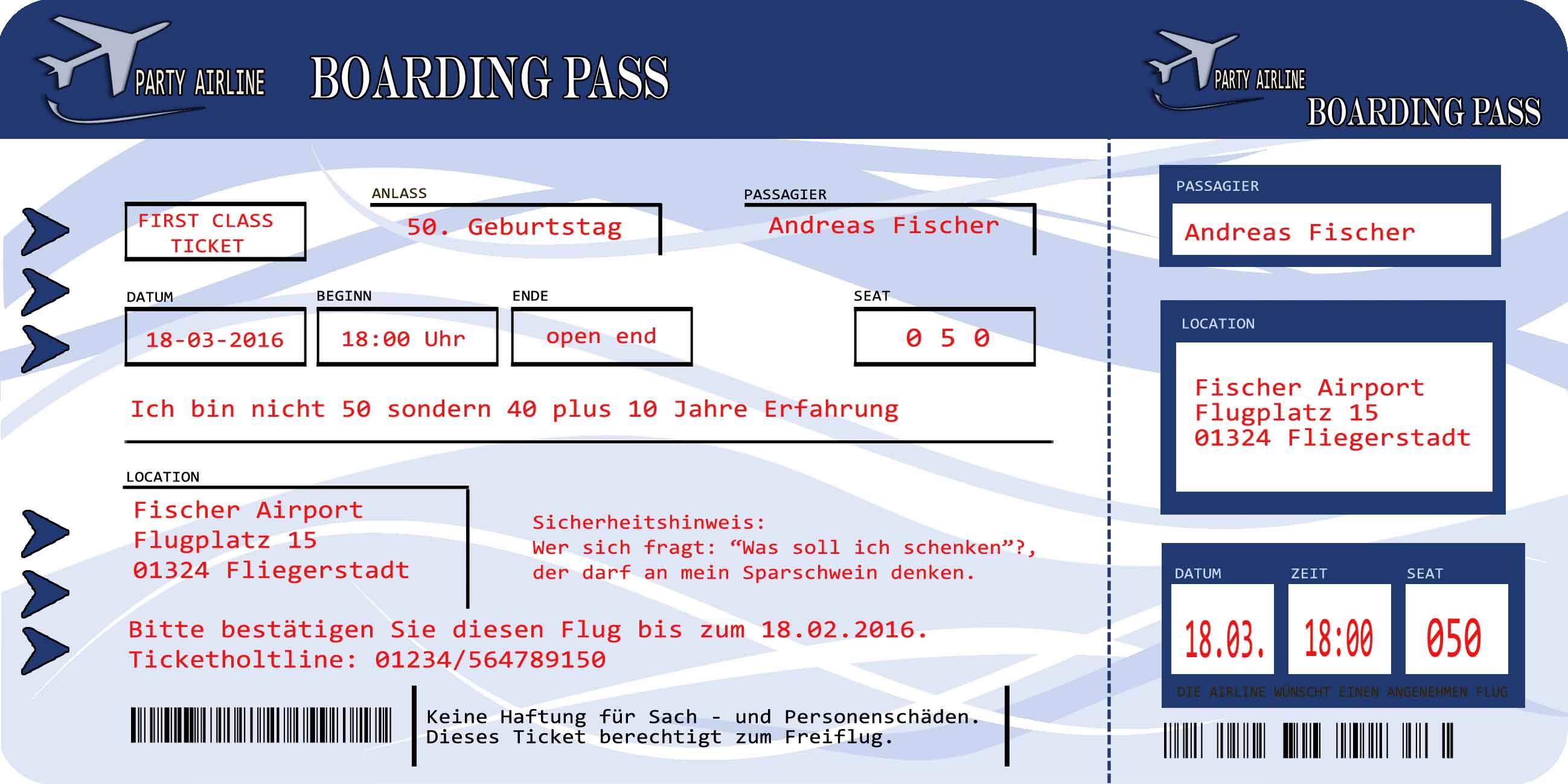 Einladungskarten Flugticket Blau Geburtstag 18. 20. 30. 40. feiern ...