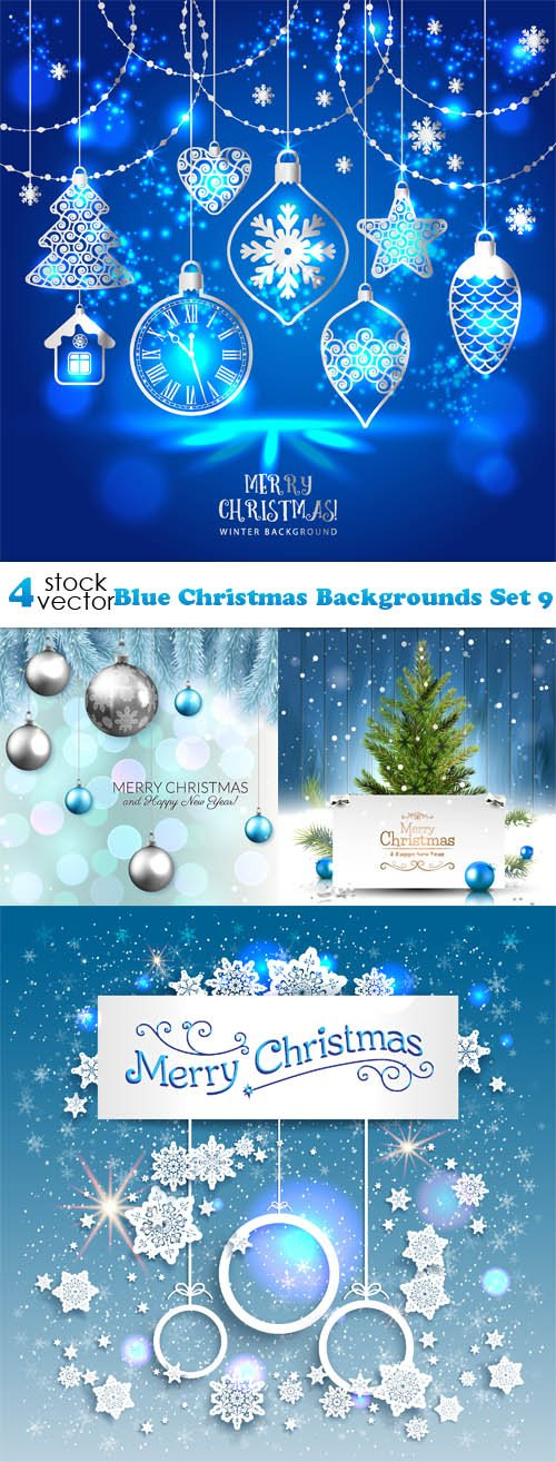 Blue Christmas Backgrounds Set