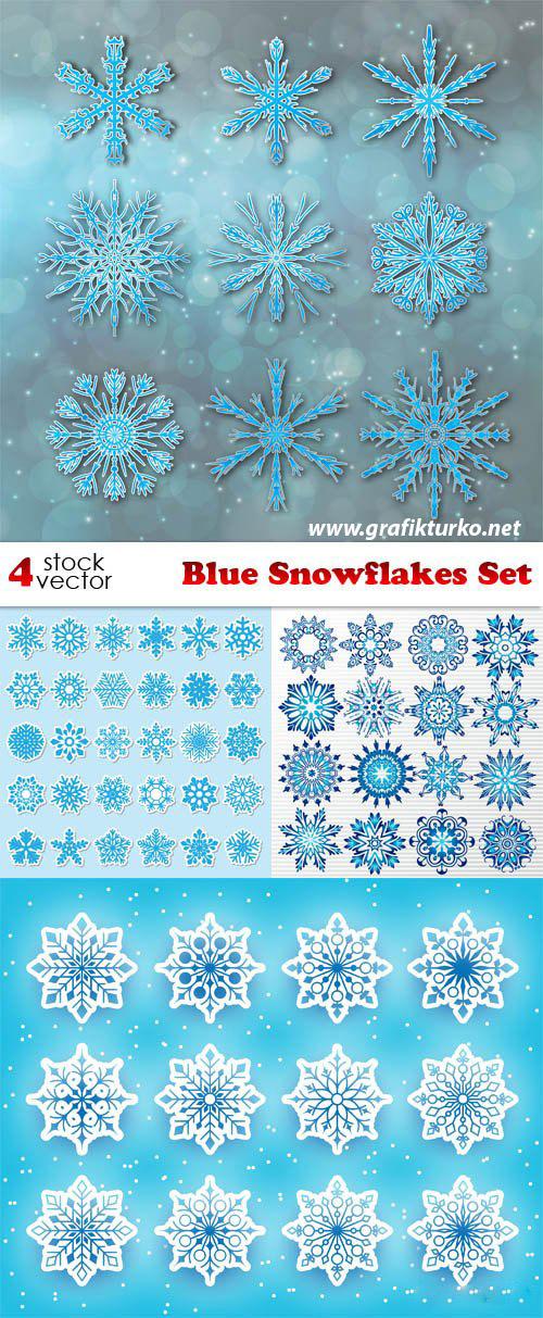 Blue Snowflakes Set-Vector Pack