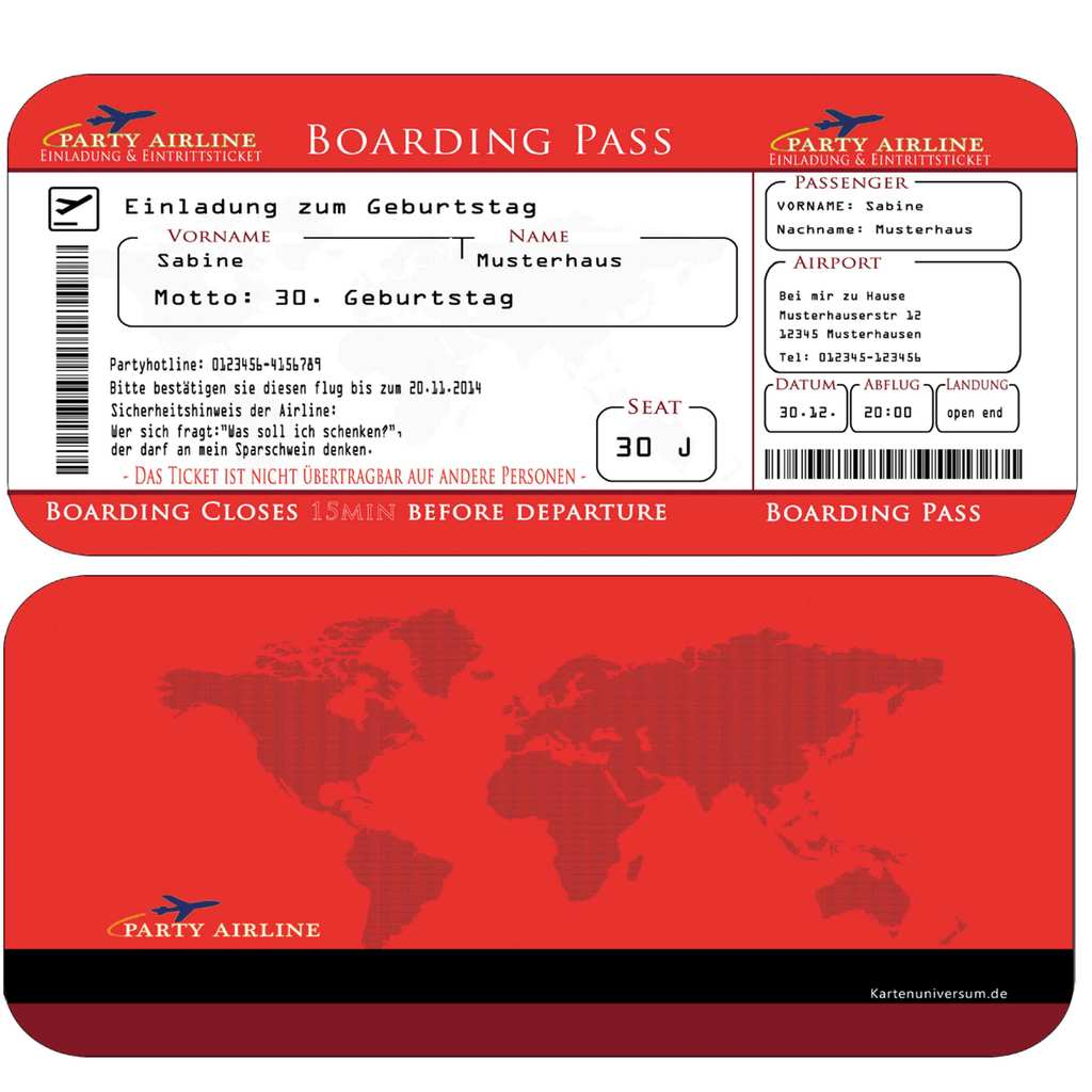Einladungskarten Geburtstag Boarding Pass FLugticket ROT ...