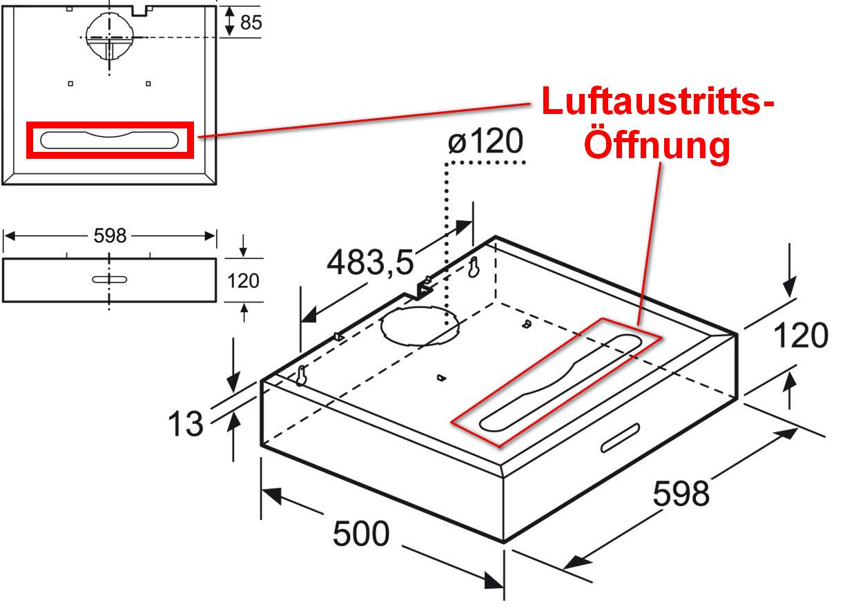 dunstabzugshaube unterbauhaube umluftbetrieb loch nach oben offen lassen. Black Bedroom Furniture Sets. Home Design Ideas