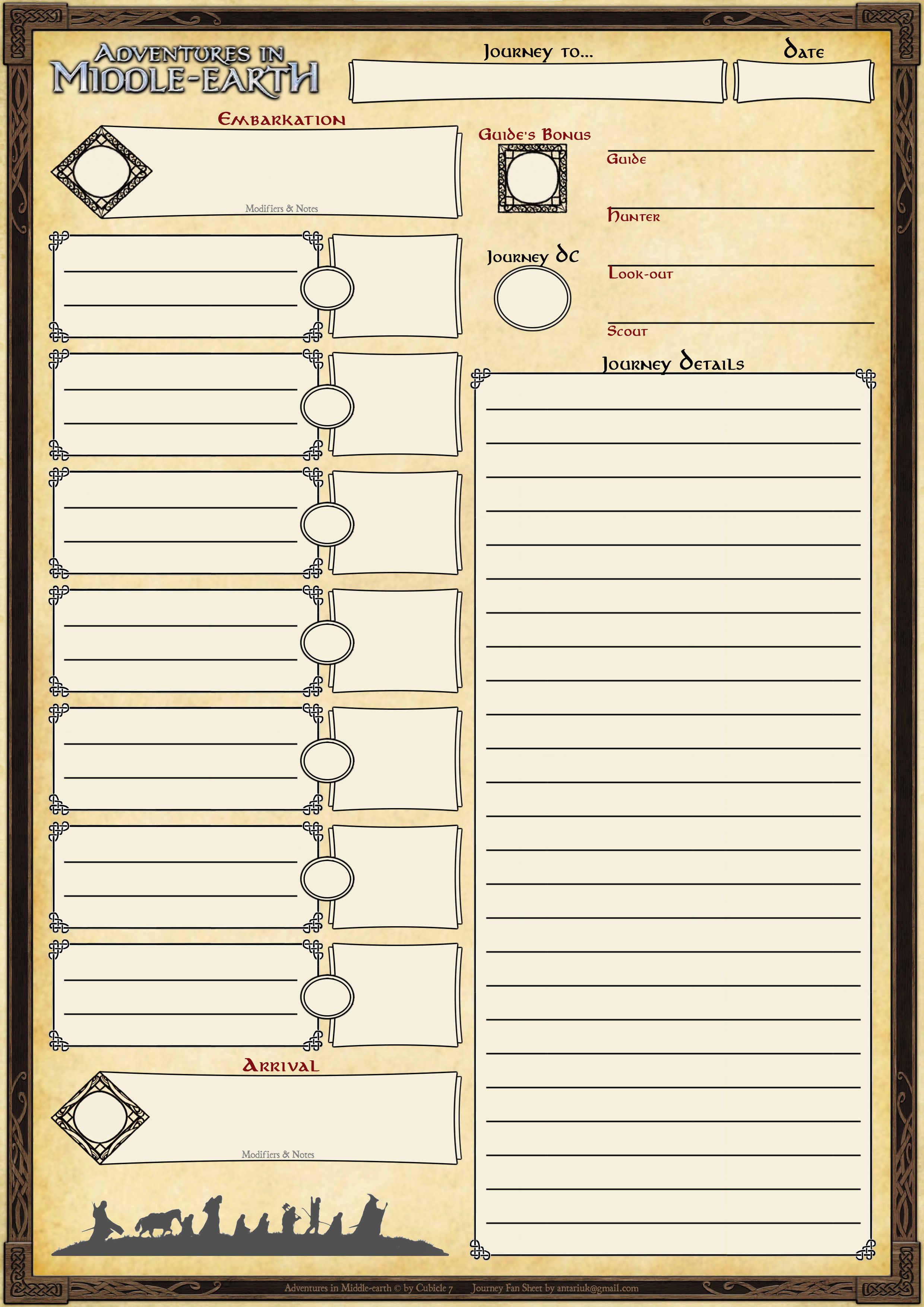 Custom Character Sheets For Adventures In Middle Earth