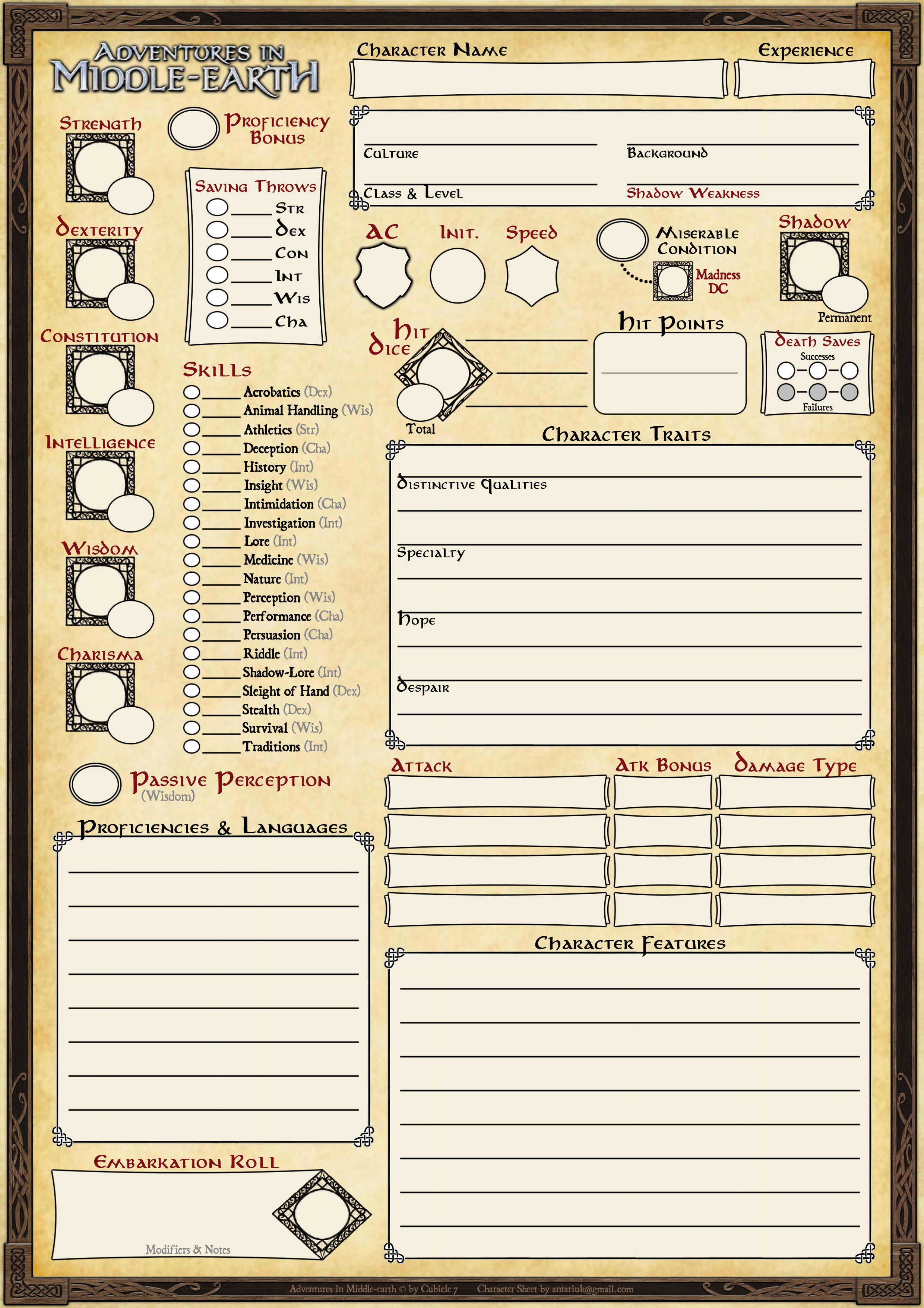 Custom Character Sheet Design : Custom character sheets for adventures in middle earth