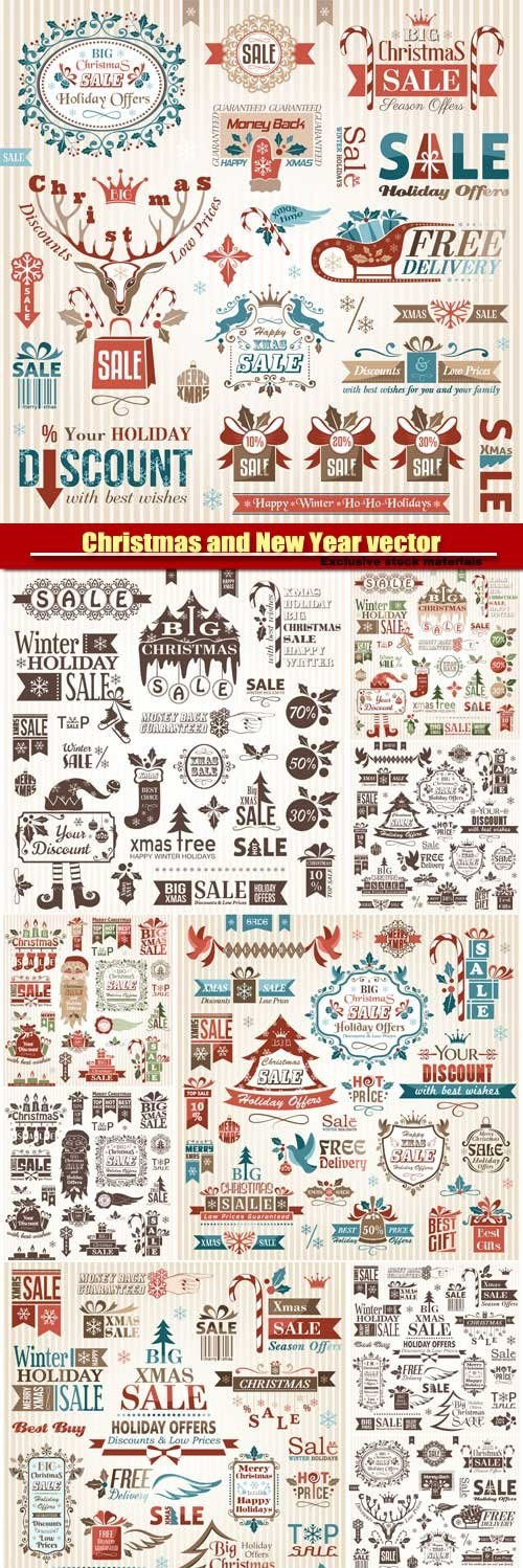 Christmas and Happy New Year -  Vector Pack