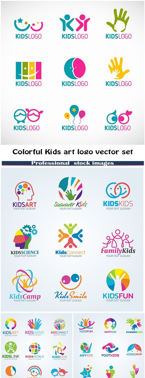 Colorful Kids Art Logo Vector Set