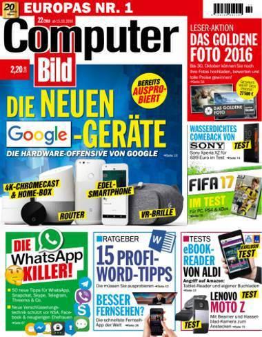 : Computer Bild  15 Oktober 2016 - Ausgabe: 22/2016