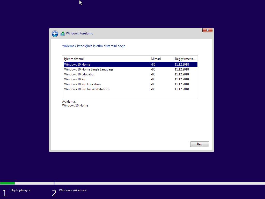 Windows 10 Home Single Language (Redstone 5) - 32 ve 64 Bit Türkçe MSDN