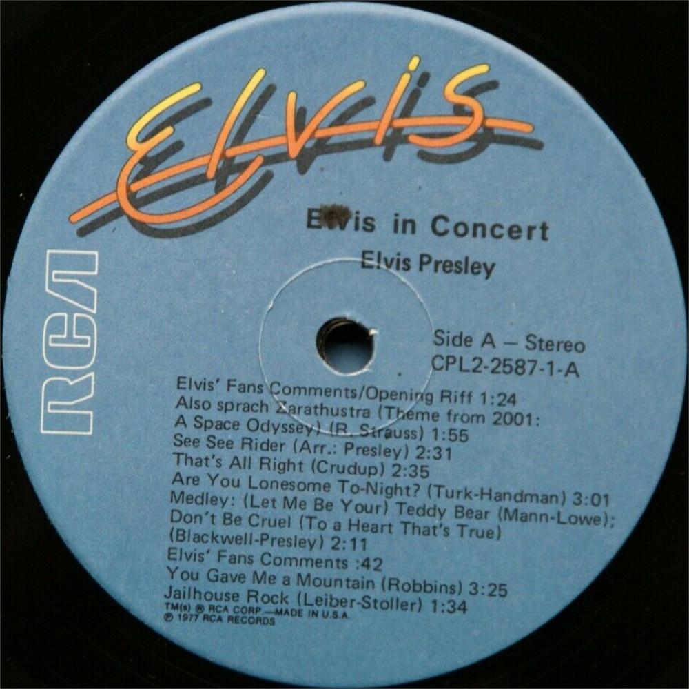 ELVIS IN CONCERT Cpl2-2587-824rejlv