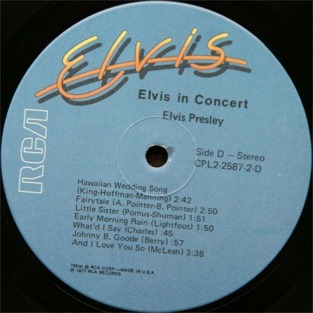 ELVIS IN CONCERT Cpl2-2587-827hvjyr