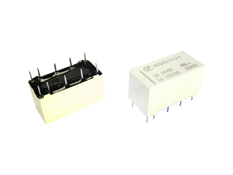 Mini Relais 2 Wechsler 2A 12V 9-24V bistabil Hongfa HFD2/012-S-L2-D