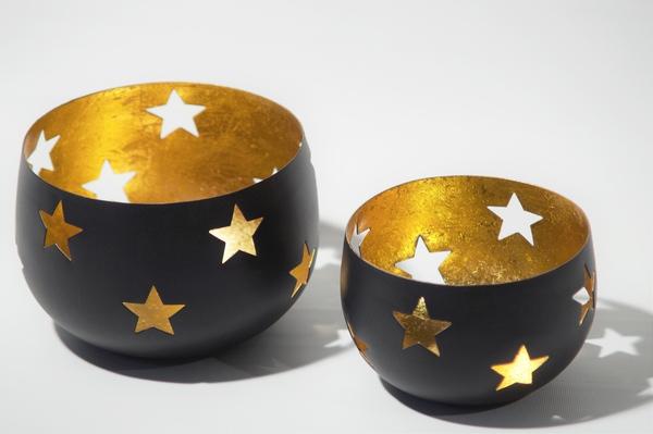 windlicht sterne schwarz gold teelichthalter kerzenhalter ebay. Black Bedroom Furniture Sets. Home Design Ideas
