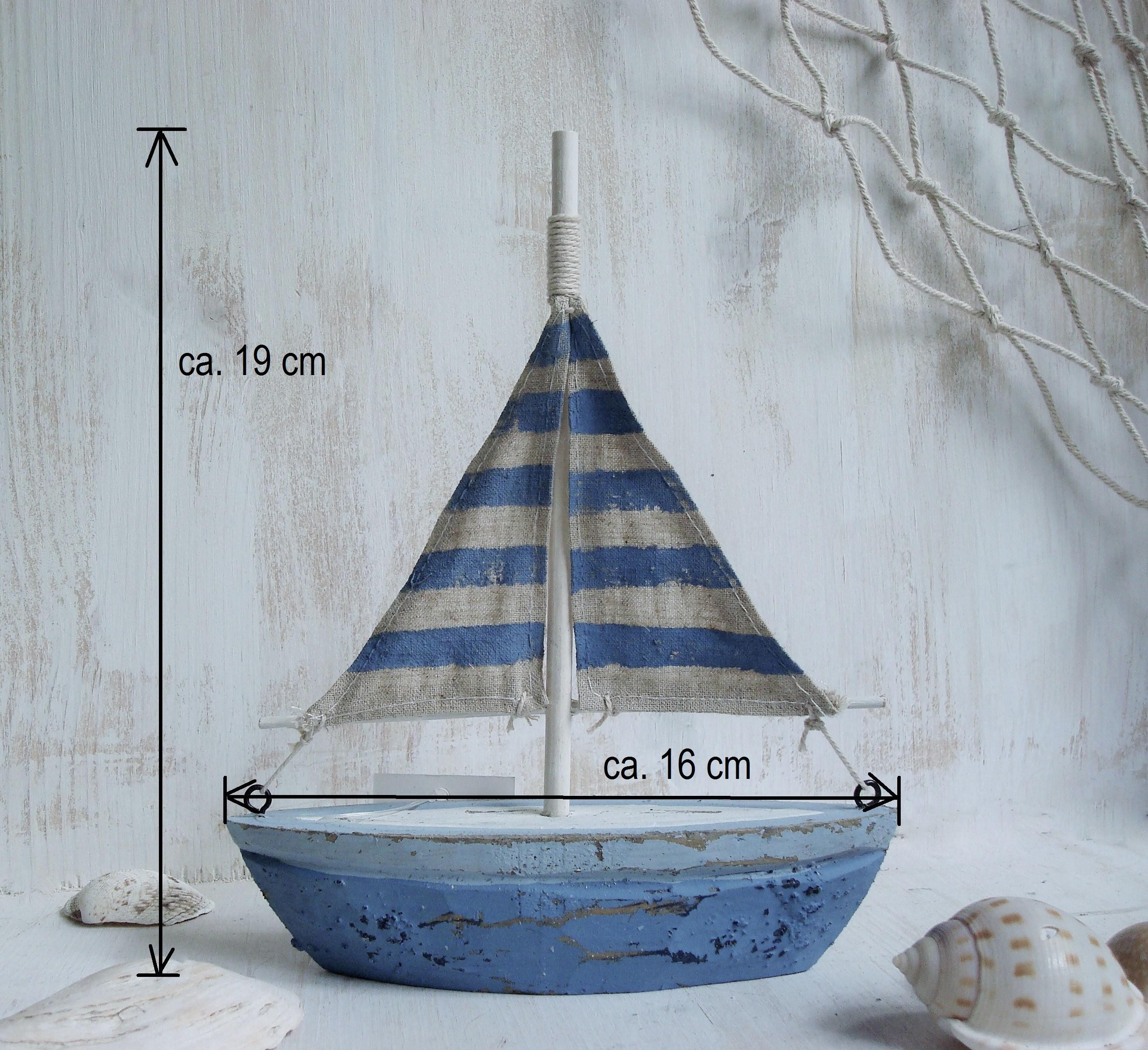 Deko Segelschiff 19cm Holz Boot K Ste Maritim Blau Wei