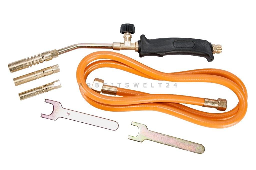 Gasbrenner Handlötset Gasbrennerset Mitteldruckregler Abflammgerät 3 Düse