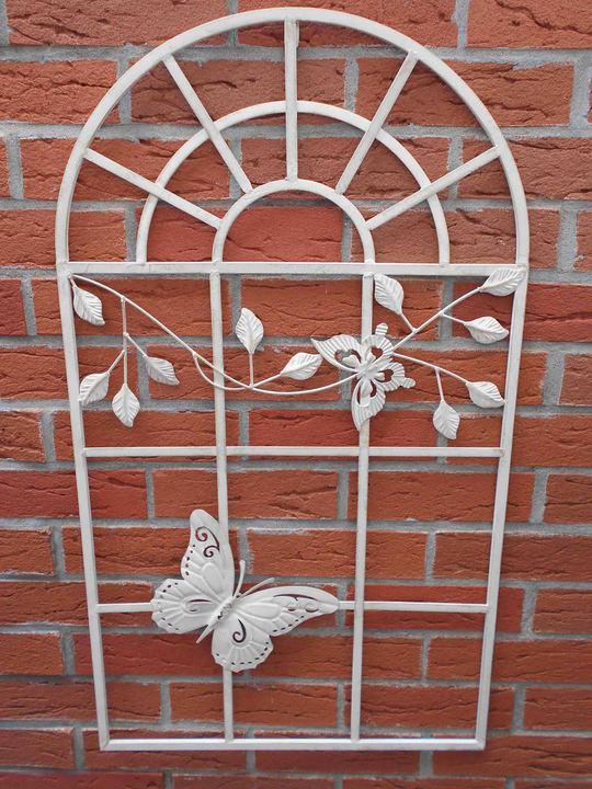braun Wanddeko Rankgitter Nostalgie Fenster aus Eisen 55x97cm Stallfenster