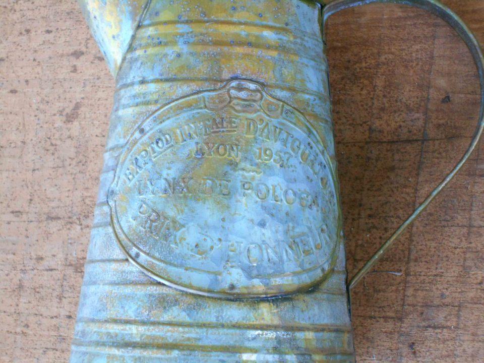 Nostalgische Zinkgießkanne 18cm hoch Metall Antikstil Cottage-Stil Landhausstil