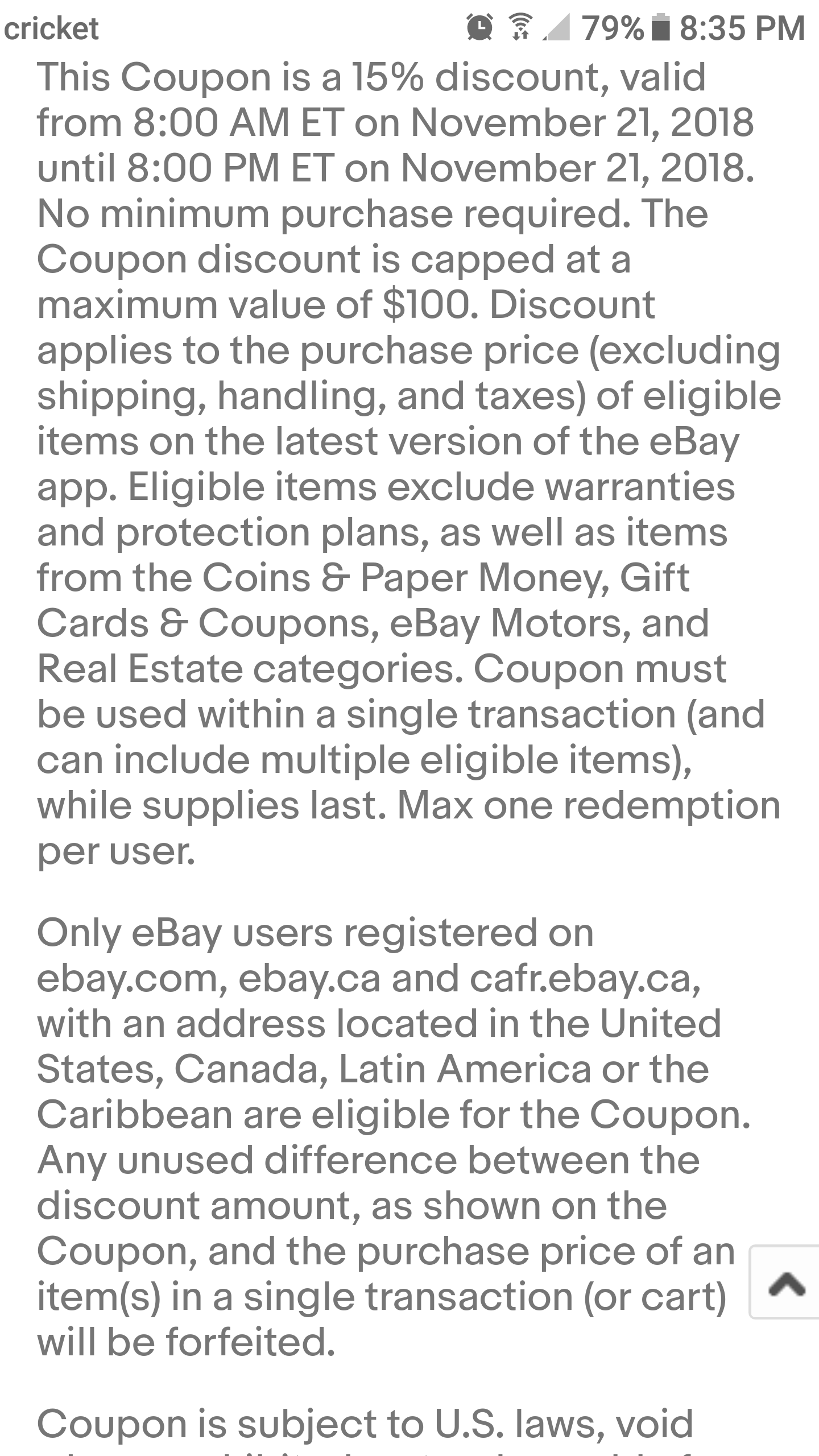 Mobile App Ebay 15 Off 11 21 2018 Usa Canada Latin America