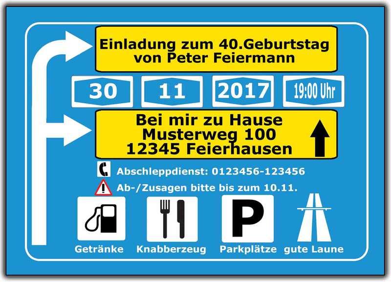 Einladung Als Autobahnschild!
