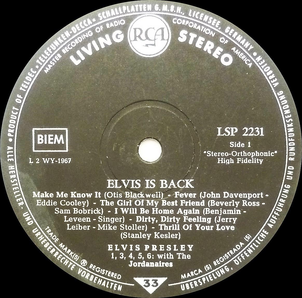 ELVIS IS BACK! Elvisisbacklsplivingsacuvv