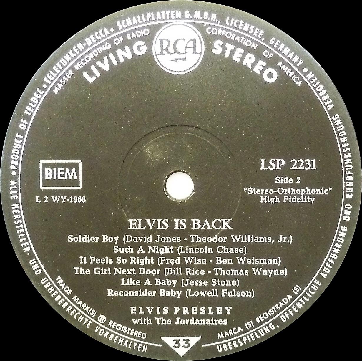 ELVIS IS BACK! Elvisisbacklsplivingslsu1a