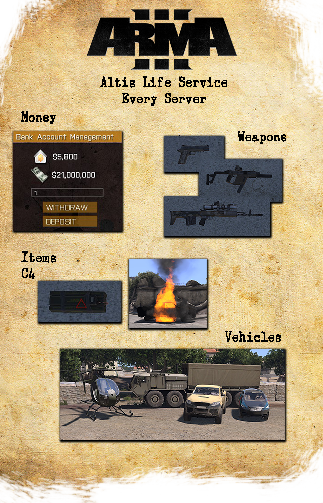 Arma 3 Money and Vehicle Spawn Service