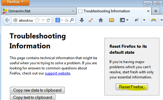 Firefox nasıl resetlenir?