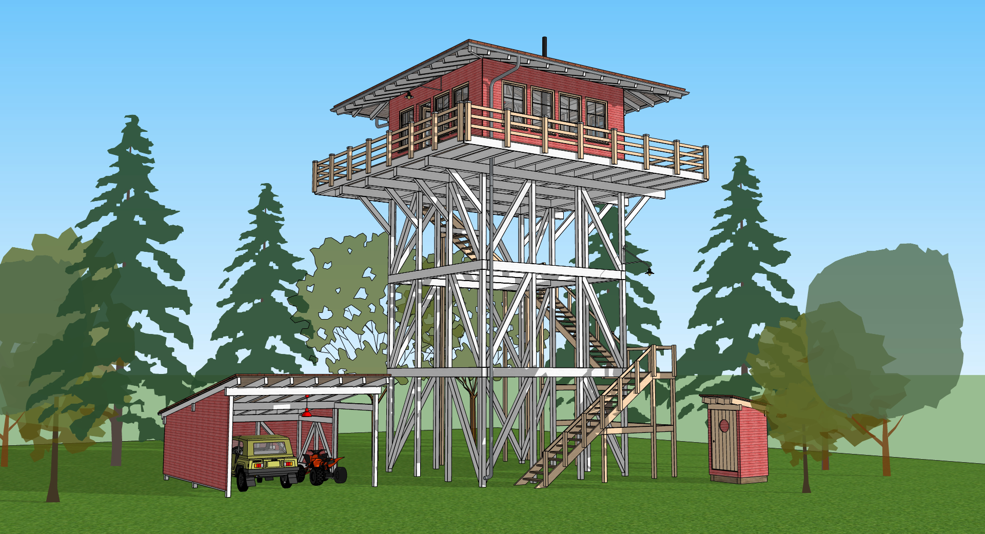 Firewatchtower Modeling with SketchUp, Rendering with Lumion  Just