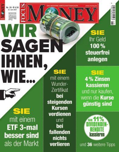 Cover: Focus Money Finanzmagazin No 26 vom 23  Juni 2021