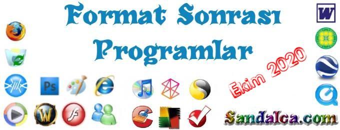 Format Sonrası Gerekli Programlar – Katılımsız Ekim 2020