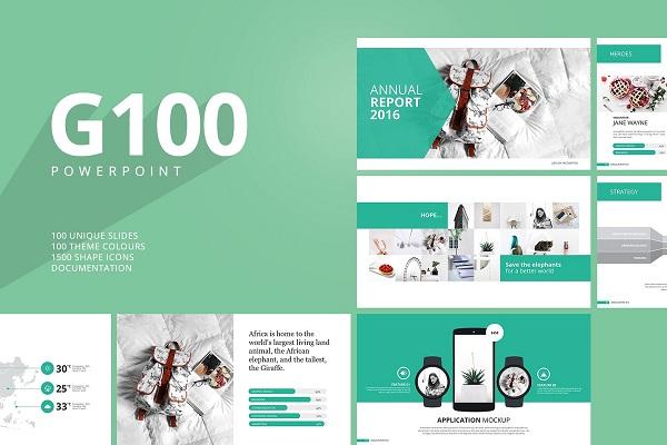 G100 Magazine Powerpoint Template 1071828