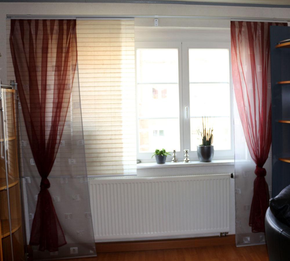 4 dekoschals gardine schiebegardine vorhang rot grau organza system ikea ebay. Black Bedroom Furniture Sets. Home Design Ideas