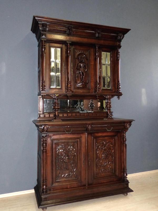 antik gr nderzeit buffet renaissance anrichte vitrine esszimmer schrank nussbaum ebay. Black Bedroom Furniture Sets. Home Design Ideas