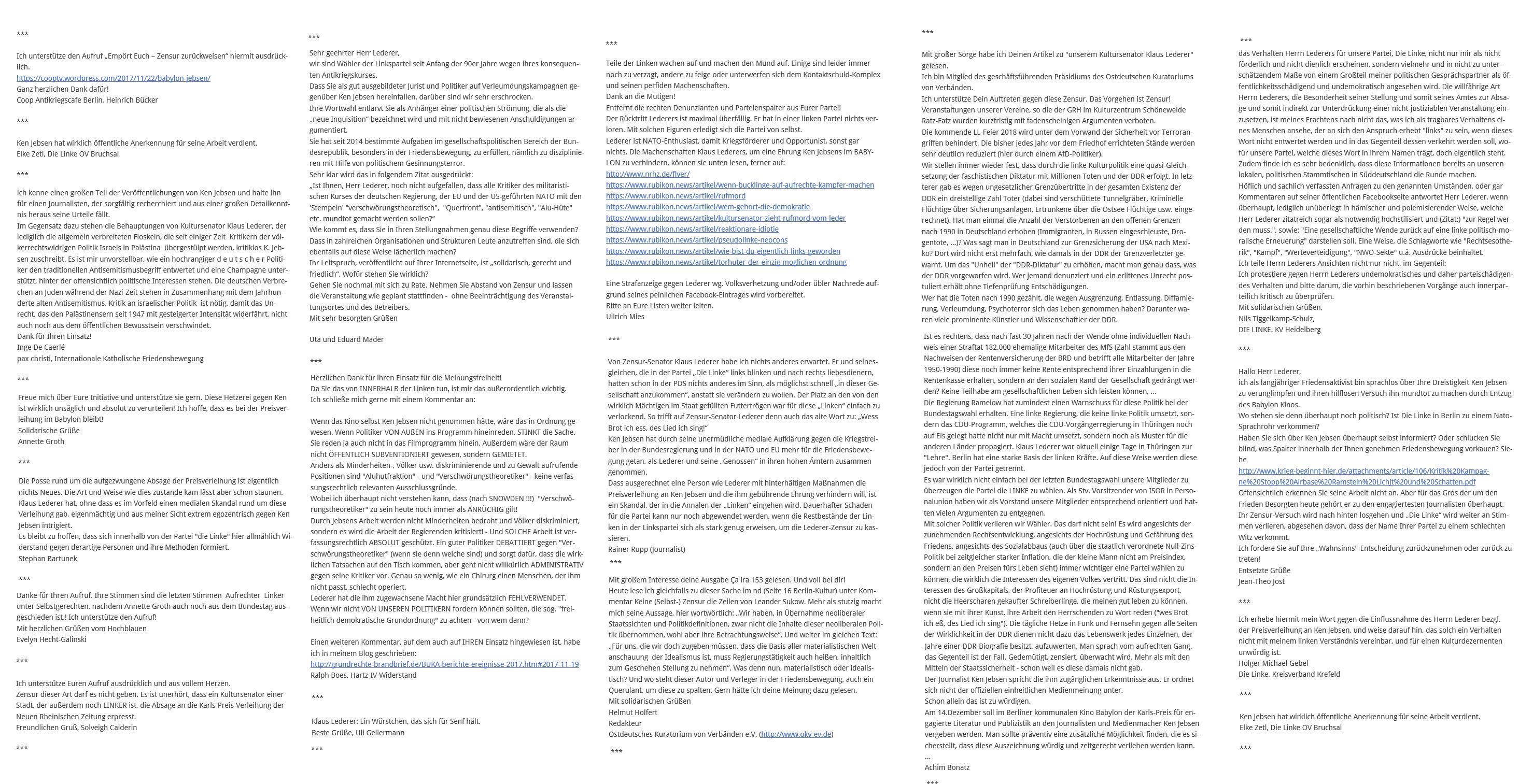 Auszug an Kommentaren unter dem Aufruf von Wolfgang Gehrcke